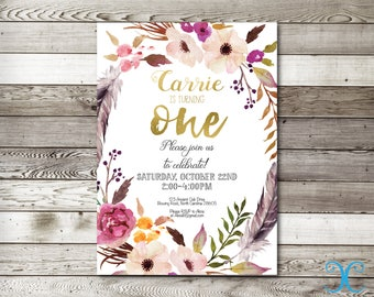 Birthday Invitation, Girl Birthday Invitation, Floral Birthday Invitation, First Birthday Invitation, Girl Birthday Invite, Gold Invite, 002