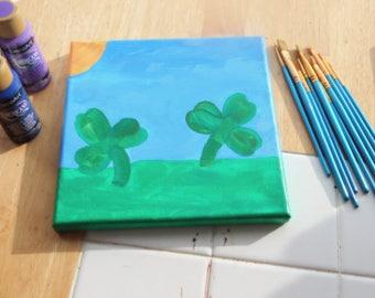 Acrylic painting, St. Patrick's Day, shamrocks, gift, home decor, wall art