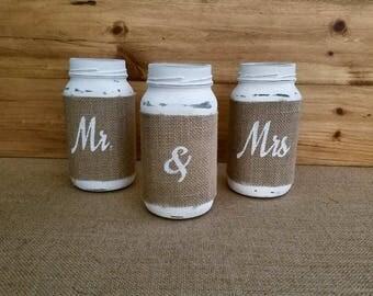 Mr. & Mrs. Mason Jar Set, Mason Jars, Custom Glasses, wedding, sweetheart table