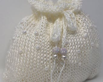 White Drawstring Pouch with Beads and Knitted cord