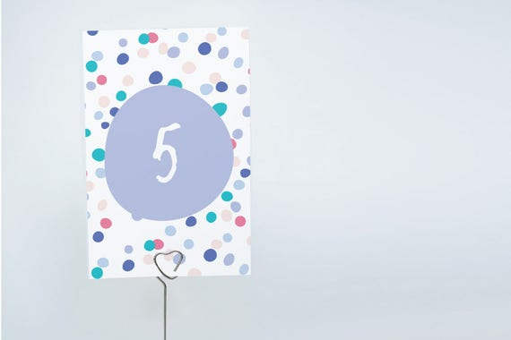 printable 4x6 table numbers 1 to 15 tables confetti theme for