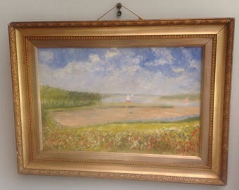 Oil landscape painting impressionist wild flowers poppies Suffolk River summer