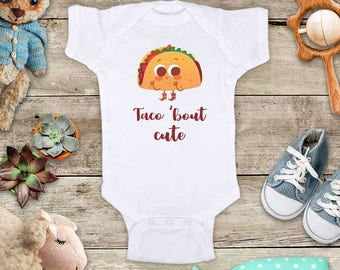 Taco bout cute - funny Mexican food baby bodysuit baby shower gift - Made in USA - toddler kids youth shirt