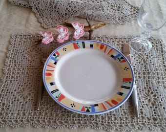Crochet dining table runners/set of 2/rustic crochet linen doilies/dining table placemats/rectangular linen natural napkins/ready to ship