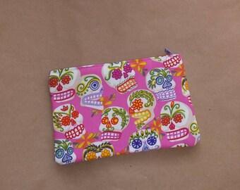 Pink sugar skull dia de los muertos day of the dead small make up bag