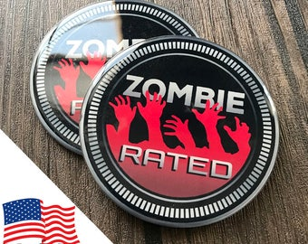 2PCS Jeep Wrangler Custom Badge Emblem (Trail Rated) 07-18 Zombie Rated