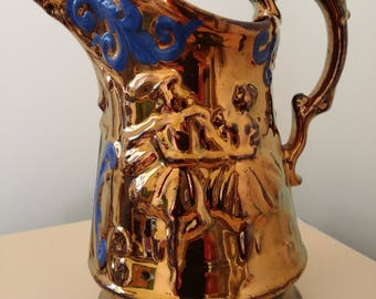 Large Antique Victorian Cooper Lustre Jug