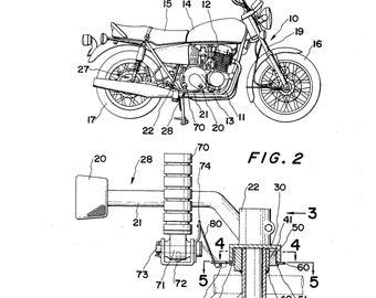 Honda Motorcycle Patent Print, Motorcycle Wall Art Poster, Honda Motorcycle Print, Motorcycle decor, Motorcycle blueprint, Honda Art, VM798