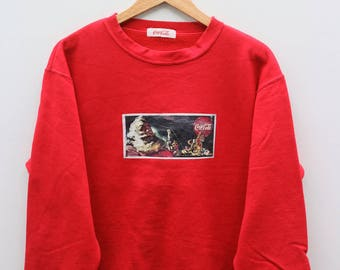 COCA COLA Red Vintage Sweater Sweatshirt Size L