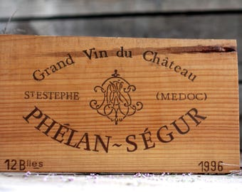 French wine crate front SAINT-ESTEPHE CHATEAU. Wine Bordeaux. Vins de Bordeaux. French wine panel. French wine dedor. Wine panel. Wine decor