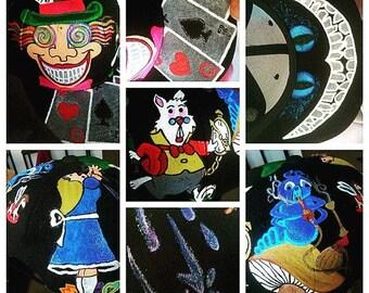 Alice in Wonderland Custom Acrylic Hand Painted Hat