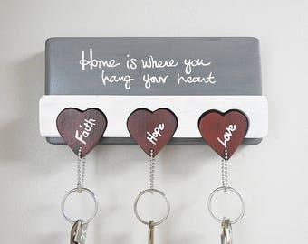 Wood Key Rack | Faith, Hope, Love | Home Decor | Wedding Gift | Housewarming Gift | Modern Farmhouse | Heart Key Chain | Hand Letter Sign