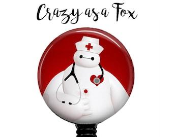 Baymax Nurse Retractable Badge Holder, Badge Reel, Lanyard, Stethoscope ID Tag, Big Hero 6 Nurse, RN  Gift