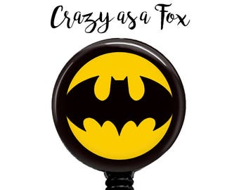 Batman Retractable Badge Holder, Badge Reel, Lanyard, Stethoscope ID Tag, doctor, md, pa, cna  Nurse, rn, teacher, student  Gift