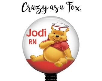 Winnie the Pooh Nurse Personalized Retractable Badge Holder, Badge Reel, Lanyard, Stethoscope ID Tag,  Pooh Bear Nurse, RN Gift