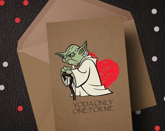 Star Wars - Yoda One For Me - Valentines Birthday Love Greeting Card A5 Size