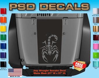 Jeep Decals Jeep Wrangler Blackout Scorpion Vinyl Hood Decal H-114
