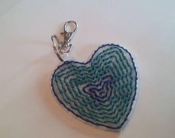 Two-Blue Heart Keychain