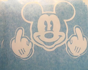 Mickey mouse finger decal fuck
