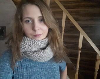 Gray scarf, gray snood