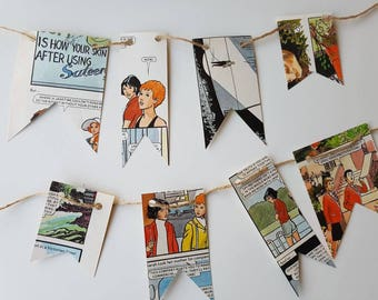 BUNTY (1985 Annual) Mini mismatched paper bunting. Great for a retro 80's celebration or home decoration.