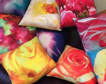 Colourful cushions with photo images