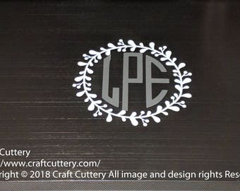 """Custom Vinyl Decal - Monogram Initials with Floral Wreath  (As shown: 4.5"""" x 4.5"""")"""