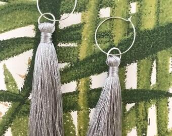Silk Tassel Hoop Earrings