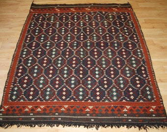 Old Turkish Flat Weave in Cicim Technique, Bergama Region, Circa 1920.