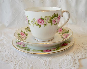 Pretty roses teacup trio, Colclough bone china teacup, saucer and plate trio,  English bone china teacup