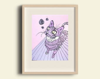 FREE SHIPPING - Psychedelic cat