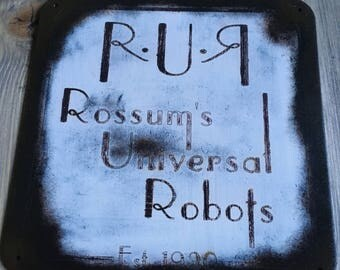 Rossum's Universal Robots - Old Time Radio SciFi inspired wall hanger (Reverse R version)