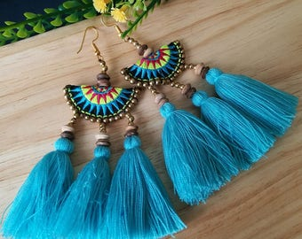 Handcraft Semi Circle Embroidered Tribal Ethnic Earrings Statement Dangle Drop Boho Chic Beaded Tassel Blue Earrings Gift