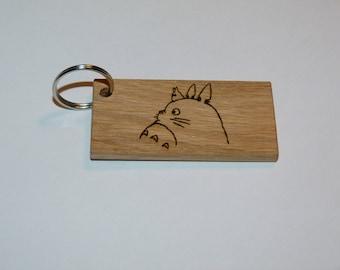 Wooden totoro keychain