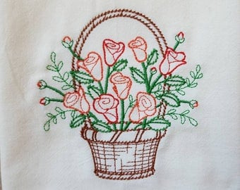 Blooming February Basket Embroidered Flour Sack Dish Towel