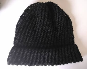 Black Hat | Handmade Loom Knit Slouchy