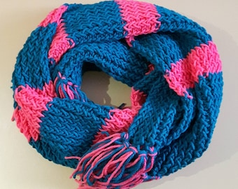Teal and Arbor Rose Cozy Fringe Scarf