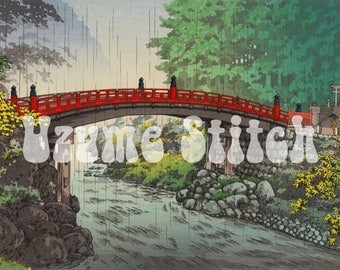 "Japanese art Cross Stitch Pattern for Instant Download, ""Nikko Shinkyo"" by Tsuchiya Kouitsu,ukiyo-e cross stitch chart"