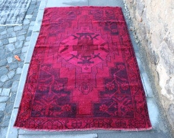 Red Color Overdyed Rug Free Shipping 3.5 x 5.8 ft. kitchen rug, bathroom rug, boho rug, oushak rug, turkish rug, bright color rug, MB290