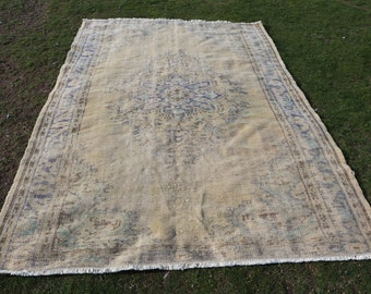Muted rug, 5.9 x 8.7 ft. Free Shipping oushak rug, low pile rug, handknotted turkish rug, oversize rug, hall rug, large area rug, MB563