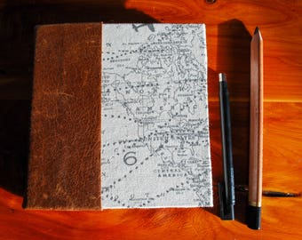 Mini World Traveler's Journal with Brown Leather Spine