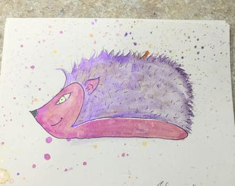 "Original  signed watercolor painting ""Sassy Hedgehog"""