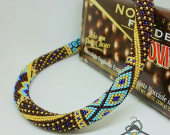 """Bead crocheted necklace patchwork """"Chocolate Dream"""""""