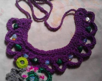 crochet handmade jewelry native style with natural stones