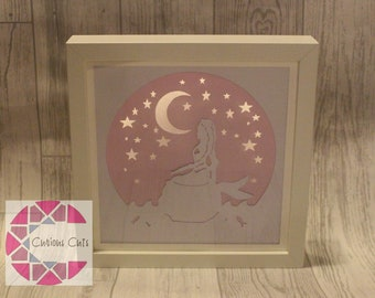 Mermaid light up papercut hand drawn framed