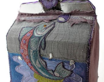 OOAK Embroidered Casket - Irish Mythology - Salmon of Knowledge