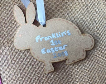 Personalised wooden easter bunny gift tag - easter bunny - gift tag - personalised tag - easter hamper - bunny tag