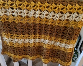 Lacy crochet afghan