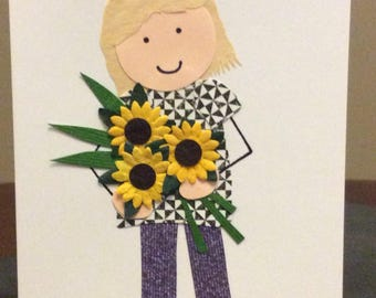 Black and white top with sunflowers Mother's Day, Birthday, Thank you card