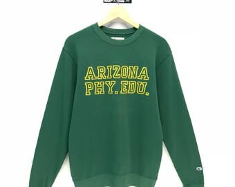 Rare!!! Vintage Champion Sweatshirt Small Logo Embroidery Big Spell Out Arizona PHY EDU Pullover Jumper Sweater Crew Neck Size L Fit To S